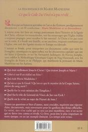 Descendance De Marie Madeleine Au Dela Du Code Da Vinci (La) - 4ème de couverture - Format classique