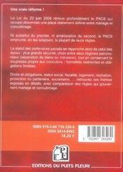 Le pacs en 2007, nouvelles dispositions pratiques, juridiques et fiscales - 4ème de couverture - Format classique