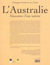 Australie naissance d une nation - 4ème de couverture - Format classique
