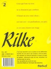 Rilke - 4ème de couverture - Format classique