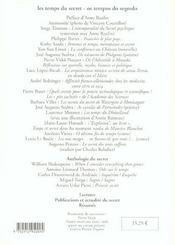 Les temps du secret/os tempos do segredo. 10 2002 - 4ème de couverture - Format classique