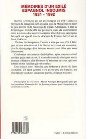 Mémoires d'un exilé espagnol insoumis, 1931-1992 - 4ème de couverture - Format classique