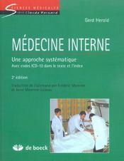 Medecine Interne Une Approche Systematique - Avec Codes Icd-10 Dans Le Texte Et L'Index - Intérieur - Format classique