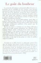 Le Gout Du Bonheur - 4ème de couverture - Format classique