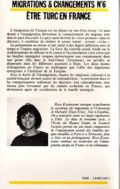Etre Turc En France Reflexions Sur Familles ... - 4ème de couverture - Format classique