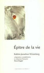 Epitre De La Vie ; Guide Des Coutumes Traditionnelles Juives En Situation De Maladie Grave Et De Deuil - Intérieur - Format classique