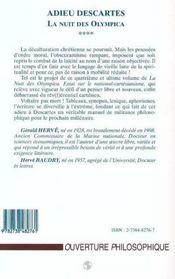 Adieu Descartes, La Nuit Des Olympica T.4 ; Essai Sur Le National-Cartesianisme - 4ème de couverture - Format classique