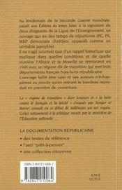 BISMARCK CHEZ JULES FERRY. Le problème scolaire en Alsace et en Lorraine. Le régime confessionnel. Le bilinguisme - 4ème de couverture - Format classique