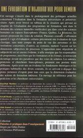 Une Evaluation D'Aujourd'Hui Pour Demain ; Les Recherches Enseignees En Espaces Francophones - 4ème de couverture - Format classique