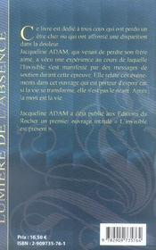 Lumiere De L'Absence - 4ème de couverture - Format classique