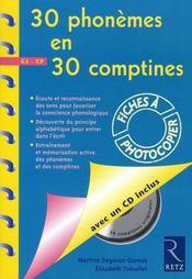 30 phonèmes en 30 comptines ; grande section, CP - Intérieur - Format classique