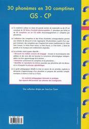30 phonèmes en 30 comptines ; grande section, CP - 4ème de couverture - Format classique