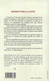 Promouvoir La Sante - 4ème de couverture - Format classique