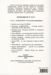 Revue Communisme N.72/73 ; La Fin Du Pcf ; Vers Un Néo-Communisme ? - 4ème de couverture - Format classique
