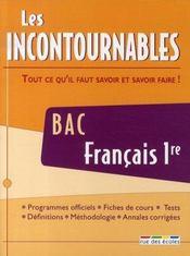 Les incontournables ; français 1ère ; bac - Intérieur - Format classique