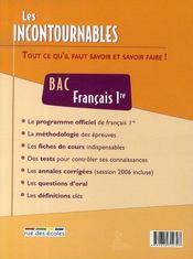 Les incontournables ; français 1ère ; bac - 4ème de couverture - Format classique