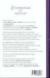 Dictionnaire Etymologique Du Francais - 4ème de couverture - Format classique