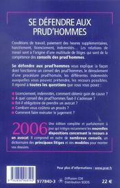 Se Defendre Aux Prud Hommes 2006 - 4ème de couverture - Format classique