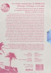 Les lettres manuscrites de Rimbaud, d'Europe, d'Afrique et d'Arabie - 4ème de couverture - Format classique