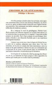 L'Histoire De Vie Genealogique, D'Oedipe A Hermes - 4ème de couverture - Format classique