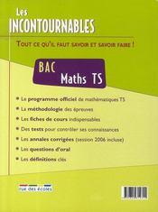 Les incontournables ; maths ; terminale s - 4ème de couverture - Format classique