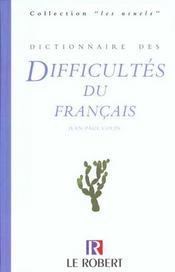 Dictionnaire Des Difficultes Du Francais - Intérieur - Format classique