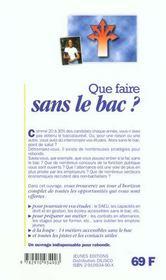 Que Faire Sans Le Bac ? - 4ème de couverture - Format classique