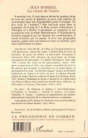 Jean Borreil.La Raison De L'Autre - 4ème de couverture - Format classique