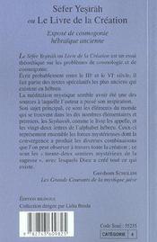 Sefer Yesirah ou le livre de la création ; exposé de cosmologie hébraïque ancienne - 4ème de couverture - Format classique