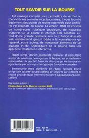 Tout Savoir Sur La Bourse - 4ème de couverture - Format classique