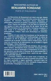 Rencontre Autour De Benjamin Fondane (Acte Colloque) - 4ème de couverture - Format classique