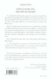 Huile D Argane Or Vert Du Maroc - 4ème de couverture - Format classique
