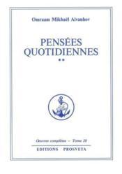 Oeuvres Completes T.20 Pensees Quotidiennes 2 - Couverture - Format classique