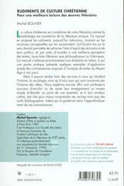 Rudiments De Culture Chretienne - 4ème de couverture - Format classique