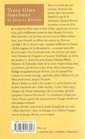 Trois Films Fantomes De Jacques Rivette - 4ème de couverture - Format classique