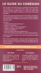Guide du comédien (10e édition) ; renseignements pratiques pour la formation de l'acteur et son insertion professionnelle - 4ème de couverture - Format classique