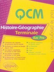 QCM histoire-géographie ; terminale bac pro - Intérieur - Format classique