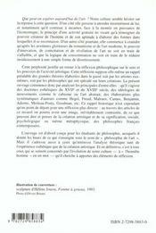 Philosophie De L'Art - 4ème de couverture - Format classique