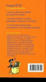 Français CP/CE1 ; les repères essentiels - 4ème de couverture - Format classique