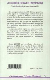 La Sociologie A L'Epreuve De L'Hermeneutique ; Essais D'Epistomologie Des Sciences Sociales - 4ème de couverture - Format classique