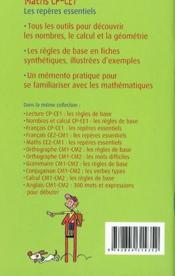 Maths CP/CE1 ; les repères essentiels - 4ème de couverture - Format classique