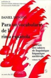 Para un vocabulario de la rima espanola. - Couverture - Format classique