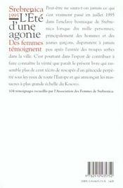 Srebrenica 1995 ; L'Ete De L'Agonie - 4ème de couverture - Format classique