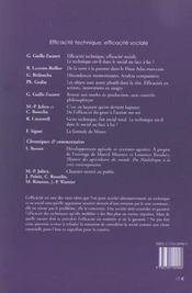 Revue Techniques Et Cultures N.40 ; Efficacité Technique, Efficacité Sociale - 4ème de couverture - Format classique