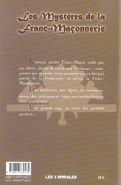 Les mystères de la Franc-Maçonnerie - 4ème de couverture - Format classique