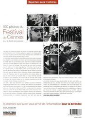100 photos du Festival de Cannes. pour la liberté de la presse - 4ème de couverture - Format classique