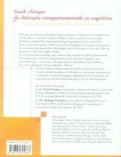 Guide clinique de thérapie comportementale et cognitive - 4ème de couverture - Format classique