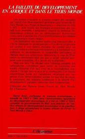 Faillite Du Developpement En Afrique ... - 4ème de couverture - Format classique
