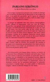Parlons Kikongo ; le lari de Brazzaville et sa culture - 4ème de couverture - Format classique