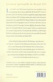 La vision spirituelle de benoît XVI - 4ème de couverture - Format classique